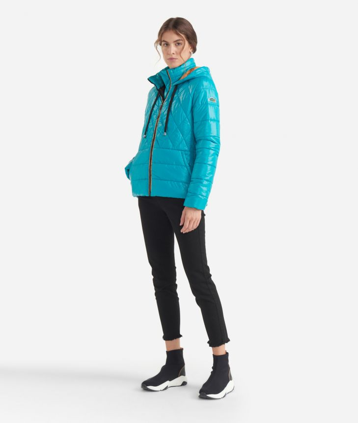 Short padded jacket with front pocket Green,front