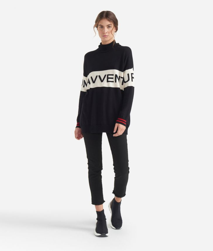 Turtleneck sweater with maxi logo jacquard White and Black,front