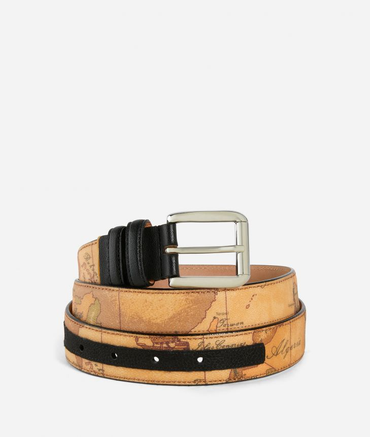 Belt with Geo Classic print and eco-leather details Black,front