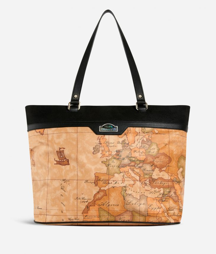 Shopping Bag in Geo Classic print fabric,front