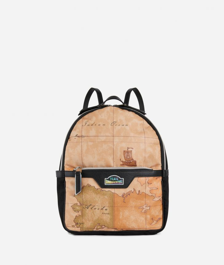 Backpack in Geo Classic print fabric,front