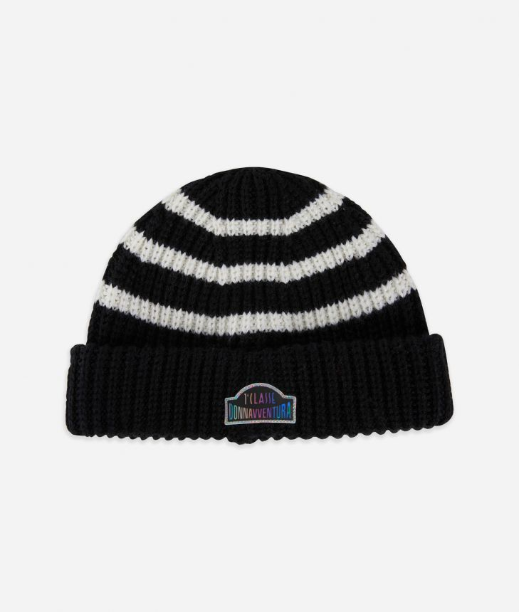 Beanie in wool blend Black and White,front