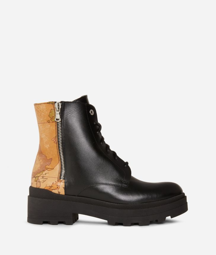 Combat boots  in smooth leather Black,front