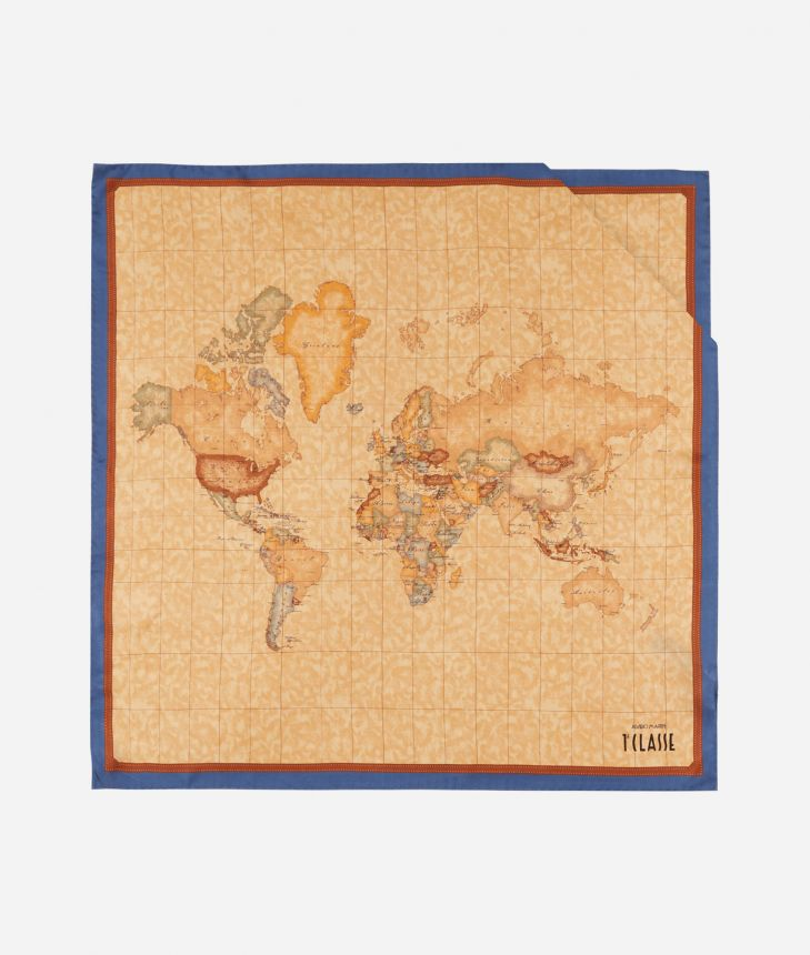 Foulard with Geo Classic print 70x70 Blue,front