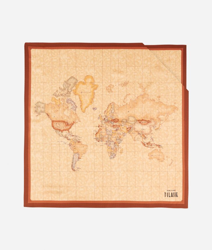 Foulard with Geo Classic print 70x70 Brown,front