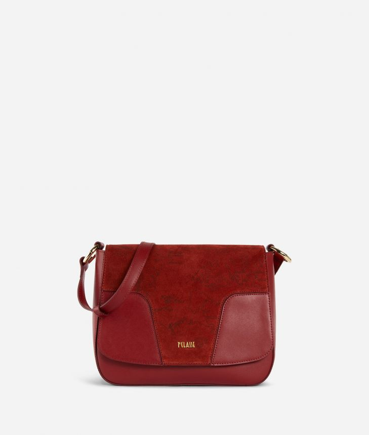 Suede Map Borsa a mano in pelle scamosciata Rossa,front