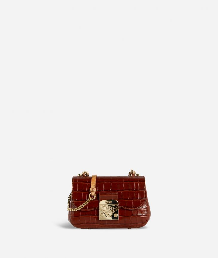 Joy Bag Tracolla in pelle stampa cocco Marrone,front