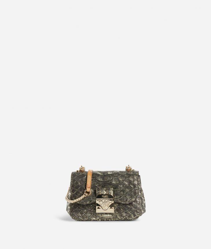 Joy Bag Tracolla in pelle stampa anaconda Bronzo,front