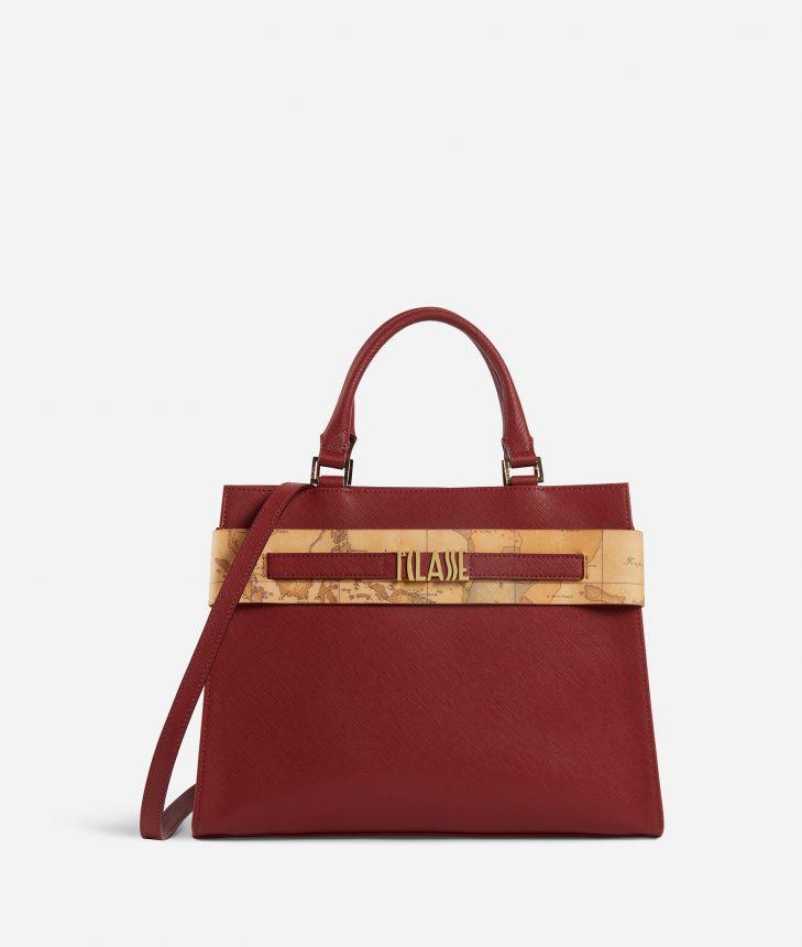 Stylish Bag Borsa a mano in tessuto saffiano Rossa,front