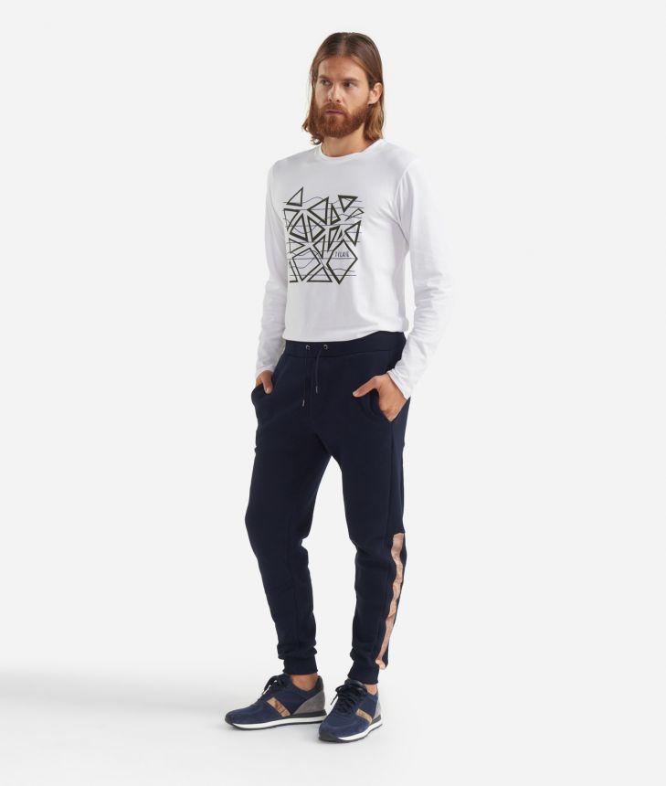 Fleece pants with drawsting Dark Blue,front