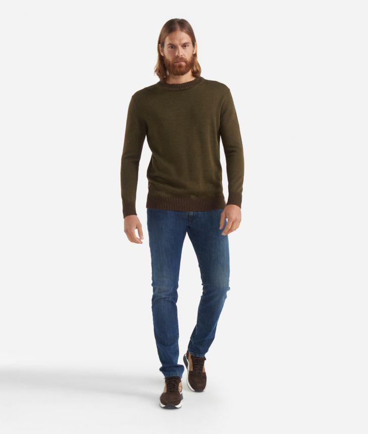 5-pockets pants Blue,front