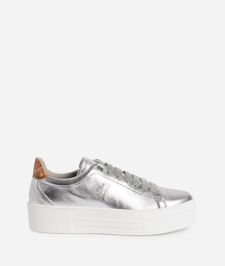 Sneaker in laminated eco-leather Silver,front