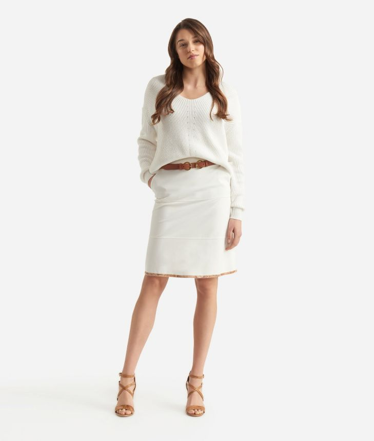 Pencil skirt in jersey fabric White,front