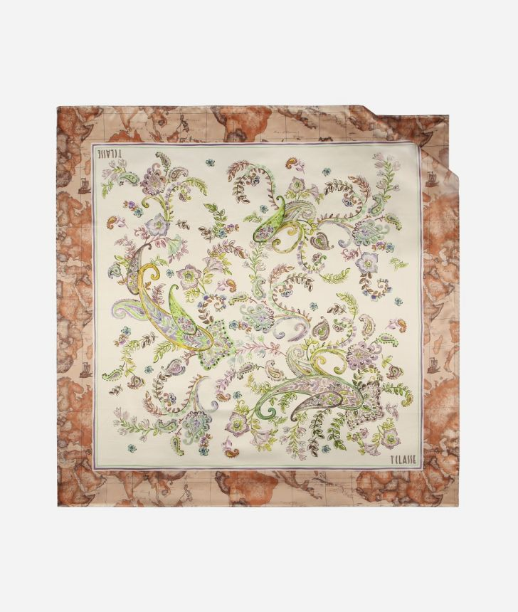Foulard in twill stampa Paisley Bianco,front
