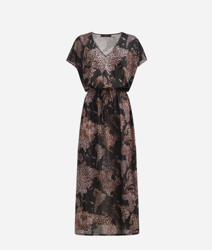 Long dress in crêpe with Geo Animalier Black,front