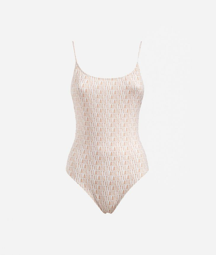 One-piece swimsuit with Logomania print White,front