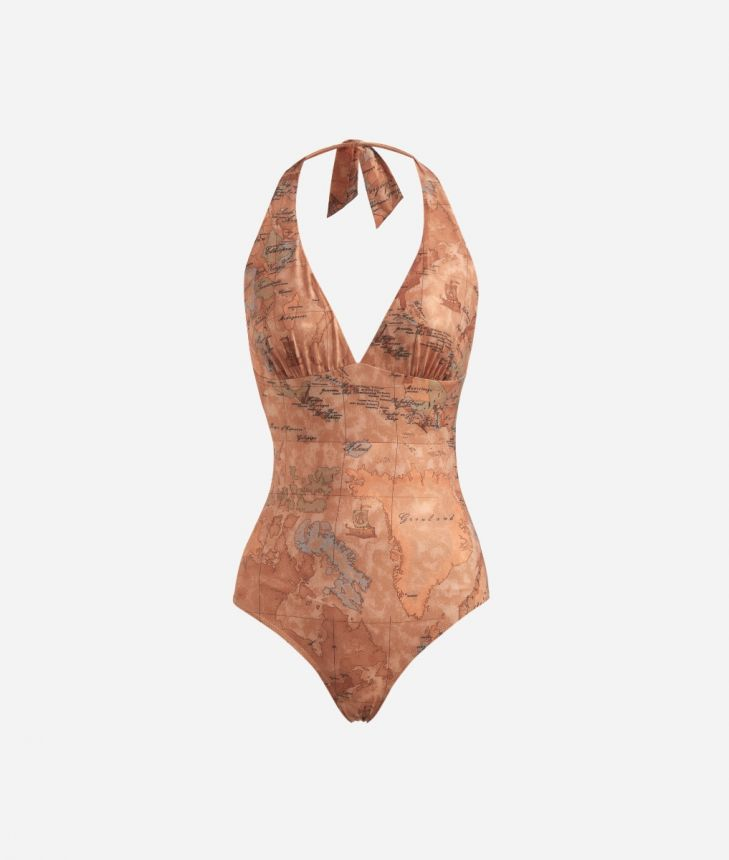 One-piece swimsuit in lamé fabric Bronze,front