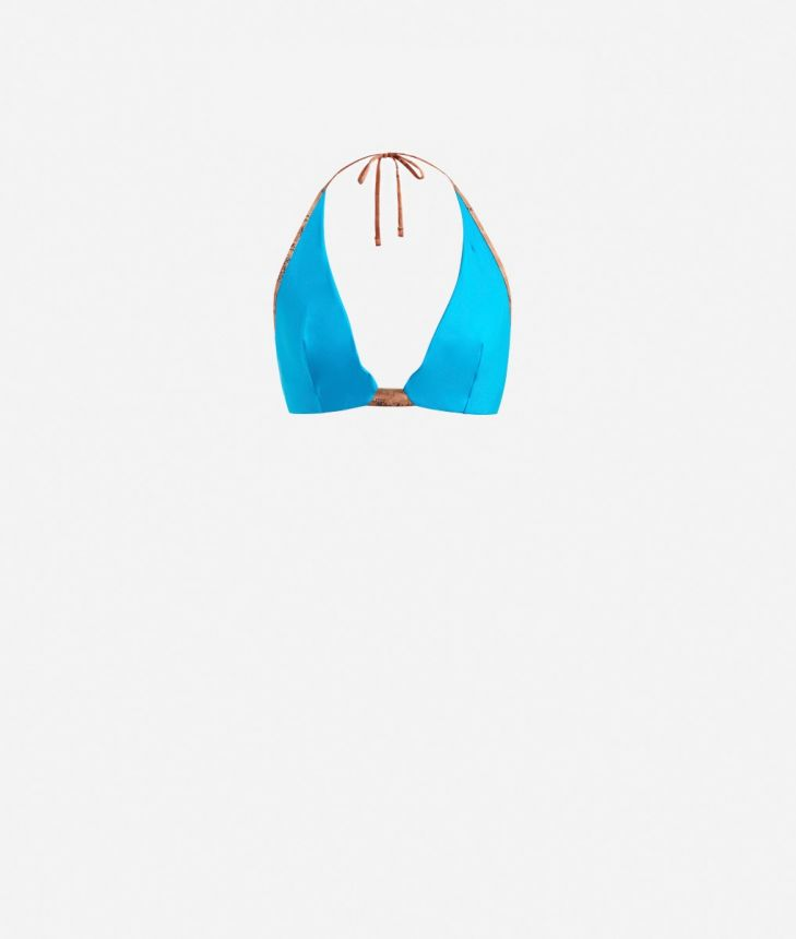 Triangle bra with Geo Classic details Light Blue,front
