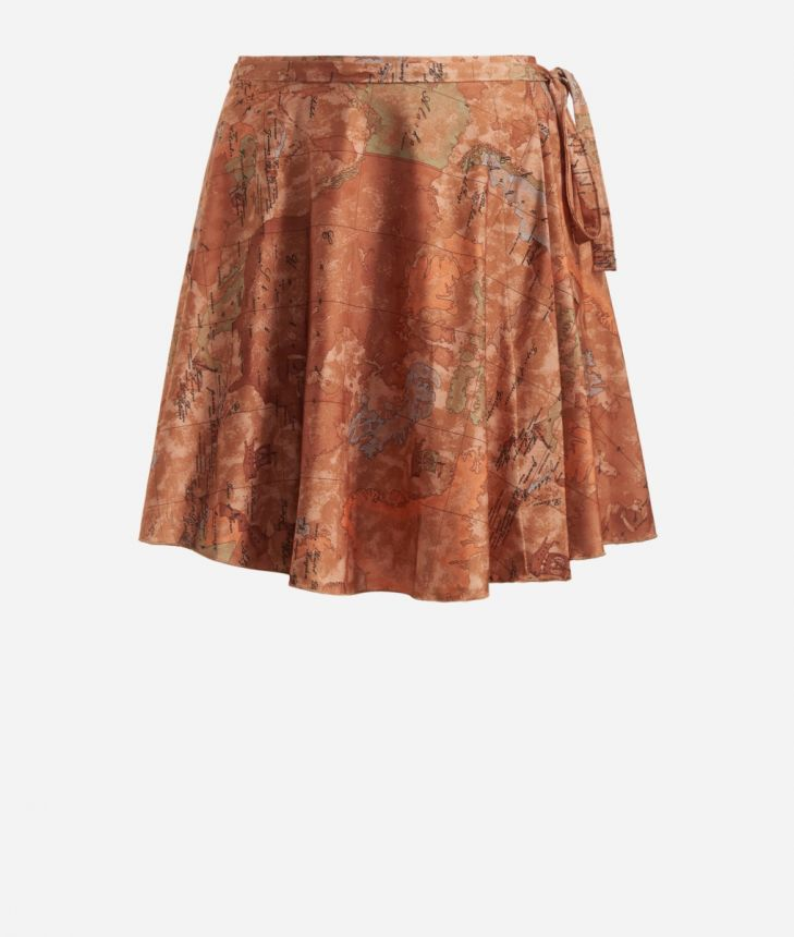 Crêpe fabric skirt with Geo Classic print,front