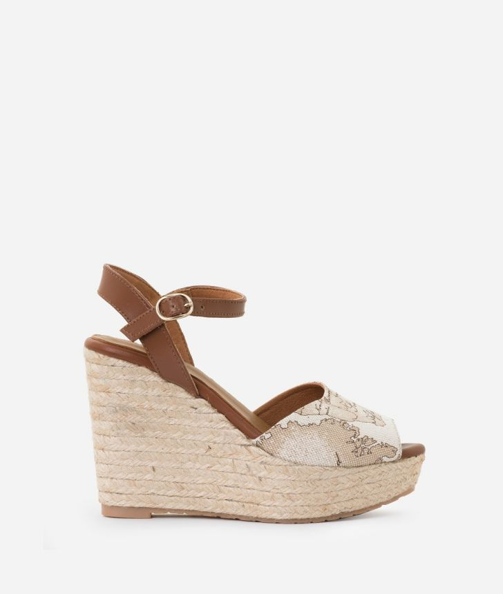 Geo Lino Wedge sandals Beige,front