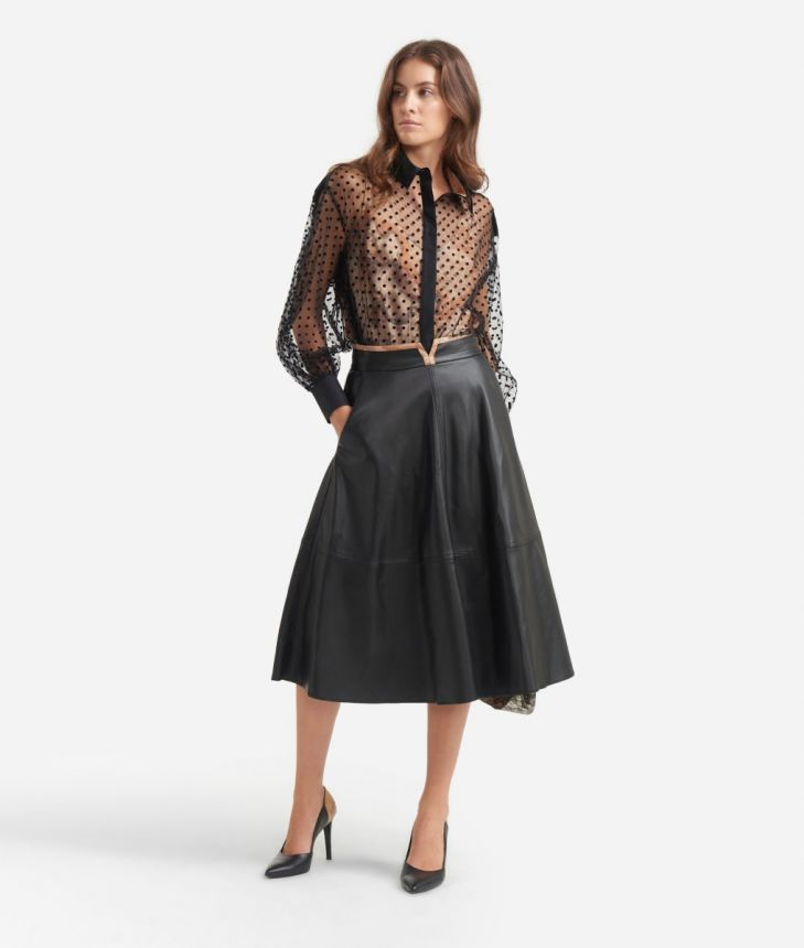 Poddle skirt in eco-leather Black,front