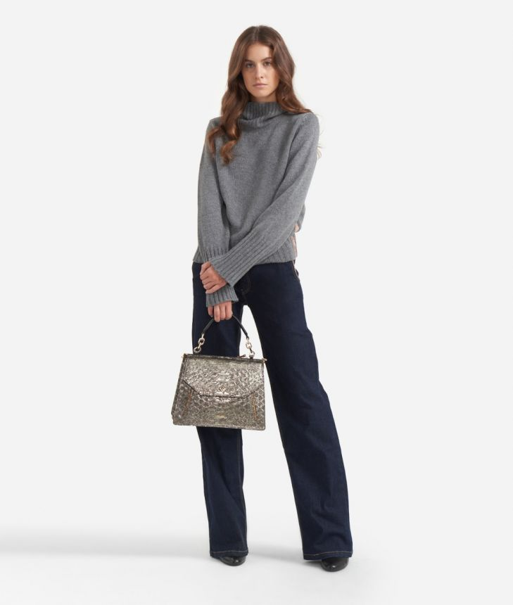 Turtleneck in cachemire blend Grey,front