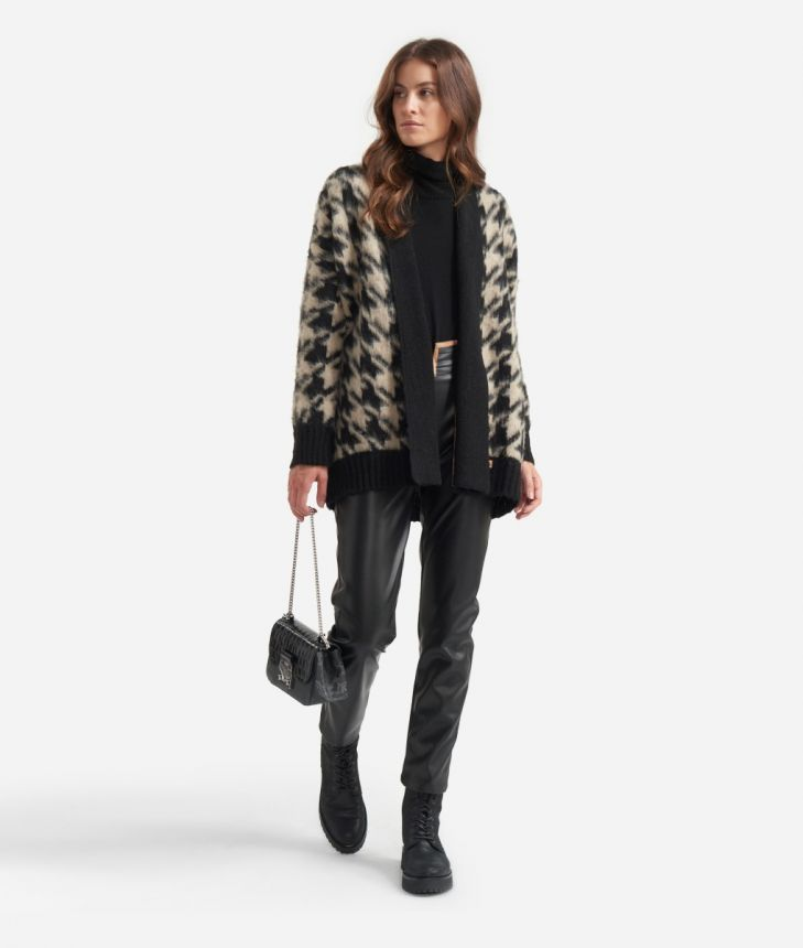 Cardigan in wool blend with macro pied-de-poule print Black and Beige,front