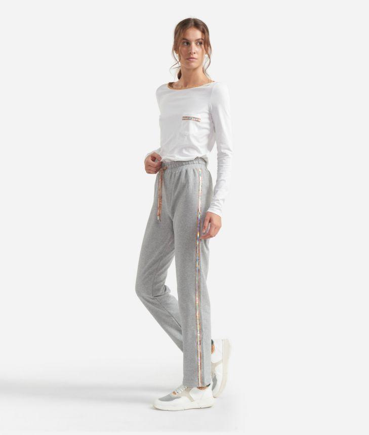 Pants in cotton fleece Grey,front