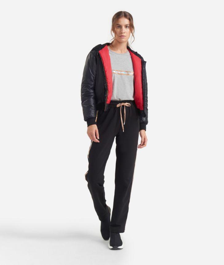 Pants in cotton fleece Black,front