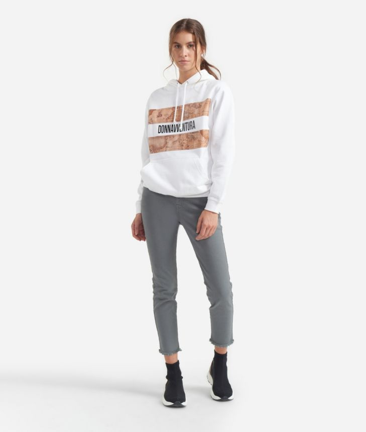 Sweatshirt with hood White,front