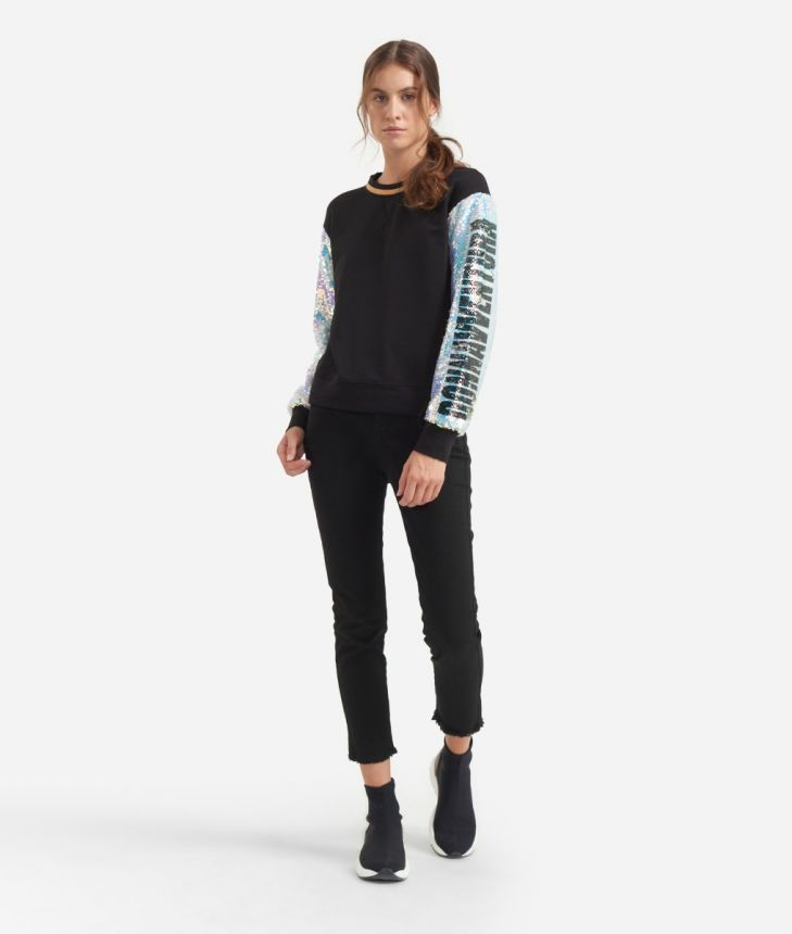 Boxy sweatshirt with sequined sleeves Black,front