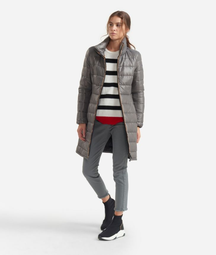 Long padded jacket with Geo Classic details Grey,front