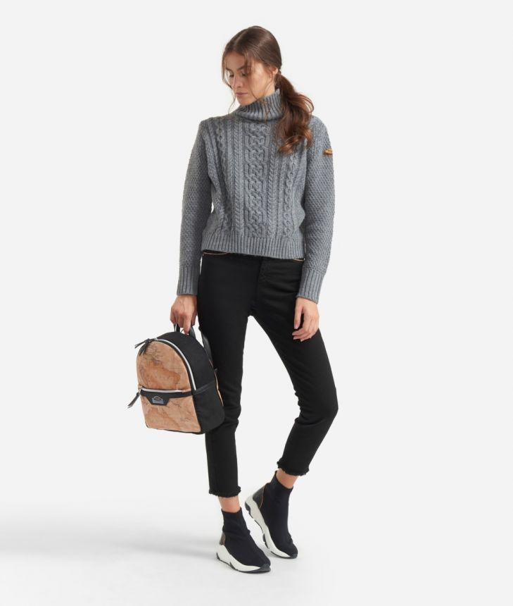 Braid knit sweater Grey,front