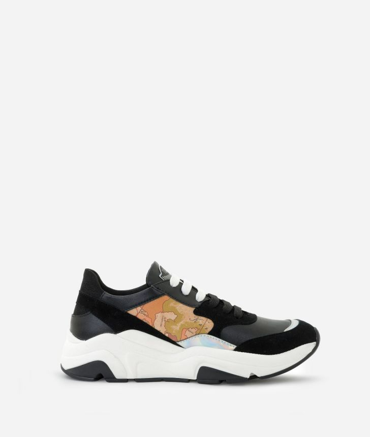 Running Sneakers in suede fabric Black,front