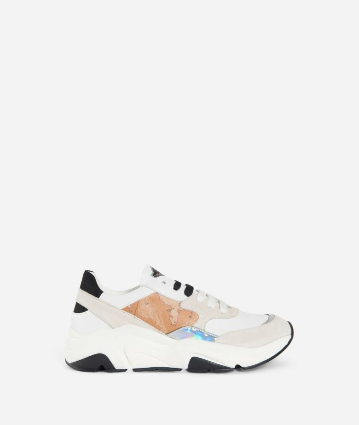 Running Sneakers in suede fabric White,front