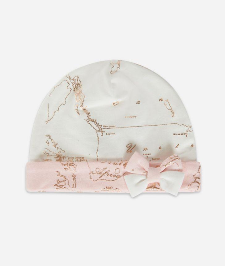 Cappellino in cotone con fiocco Rosa,front