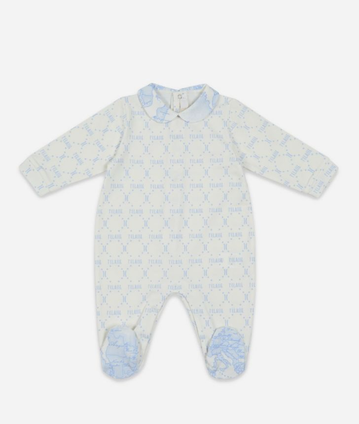 Tutina in cotone stampa Geo Sky,front