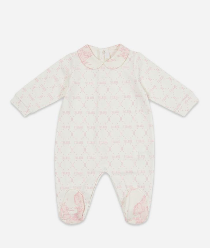 Tutina in cotone stampa Geo Pink,front
