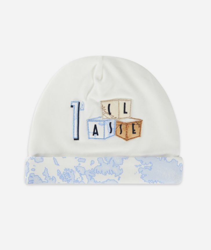 Cappellino in cotone ricamo cubi Bianco,front