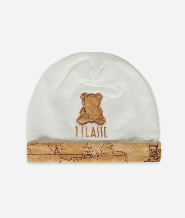 Cappellino in cotone con orsetto Bianco,front