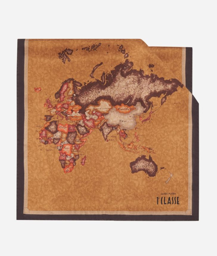 Scarf with Geo Color print 45x180 Brown,front