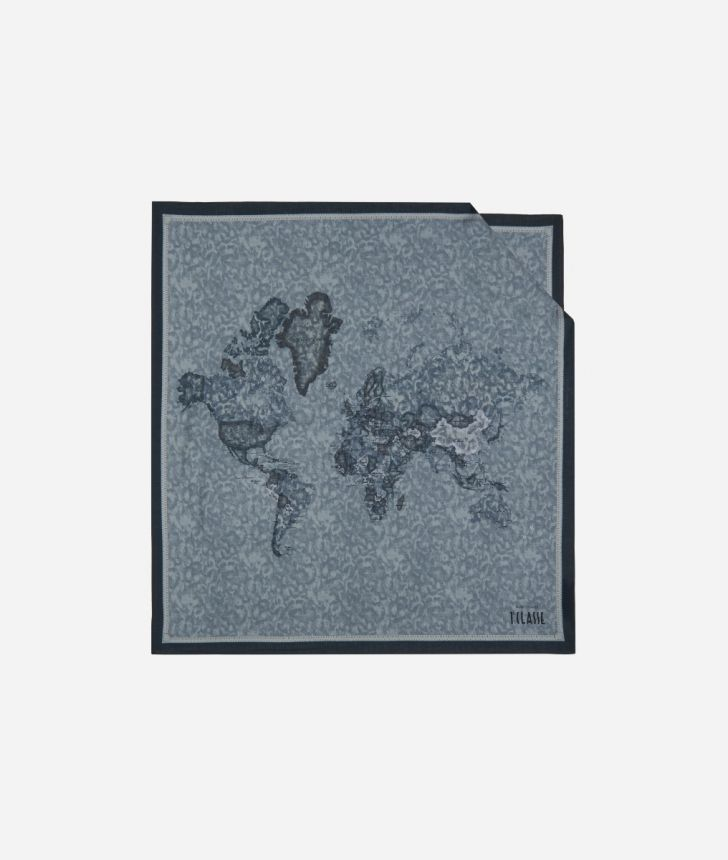 Foulard with Geo Color print 70x70 Grey,front