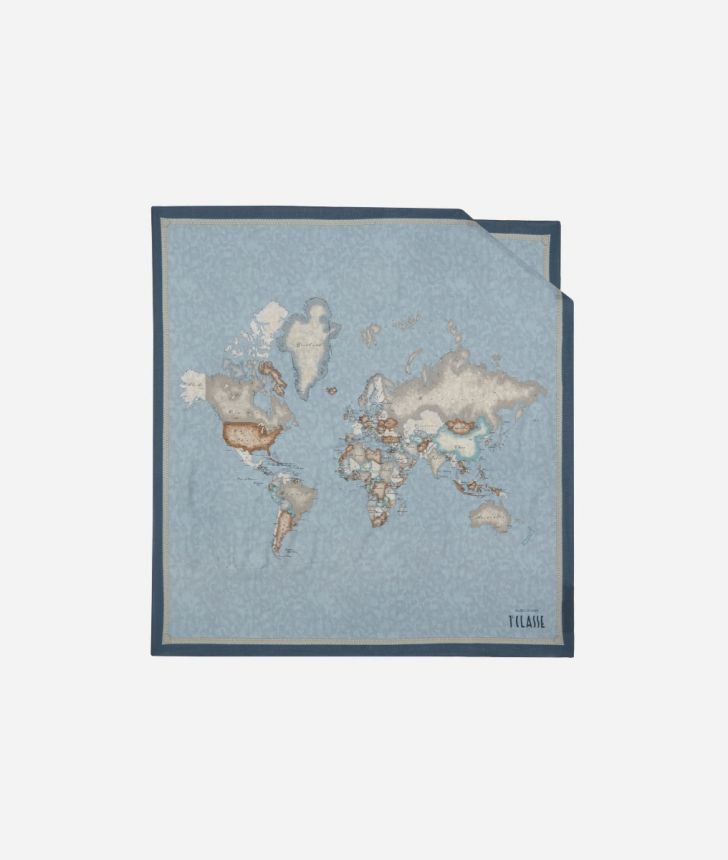 Foulard with Geo Color print 70 x 70 Blue,front
