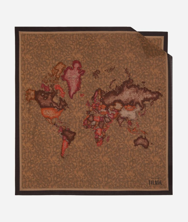 Foulard with Geo Color print 70 x 70 Brown,front
