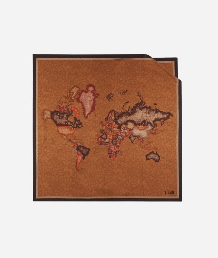 Foulard with Geo Color print 90 x 90 Brown,front