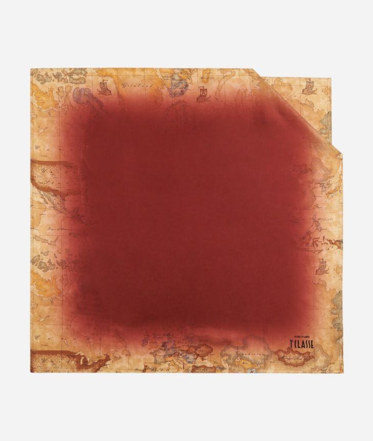 Foulard with Geo Sfumato print 70 x 70 Red,front