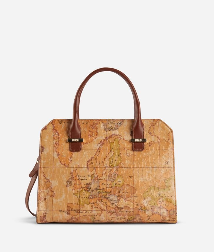 Online Exclusive Handbag in Geo Classic print nappa with mock-croc impression,front