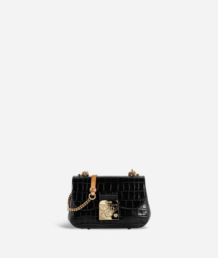 Joy Bag Tracolla in pelle stampa cocco Nera,front