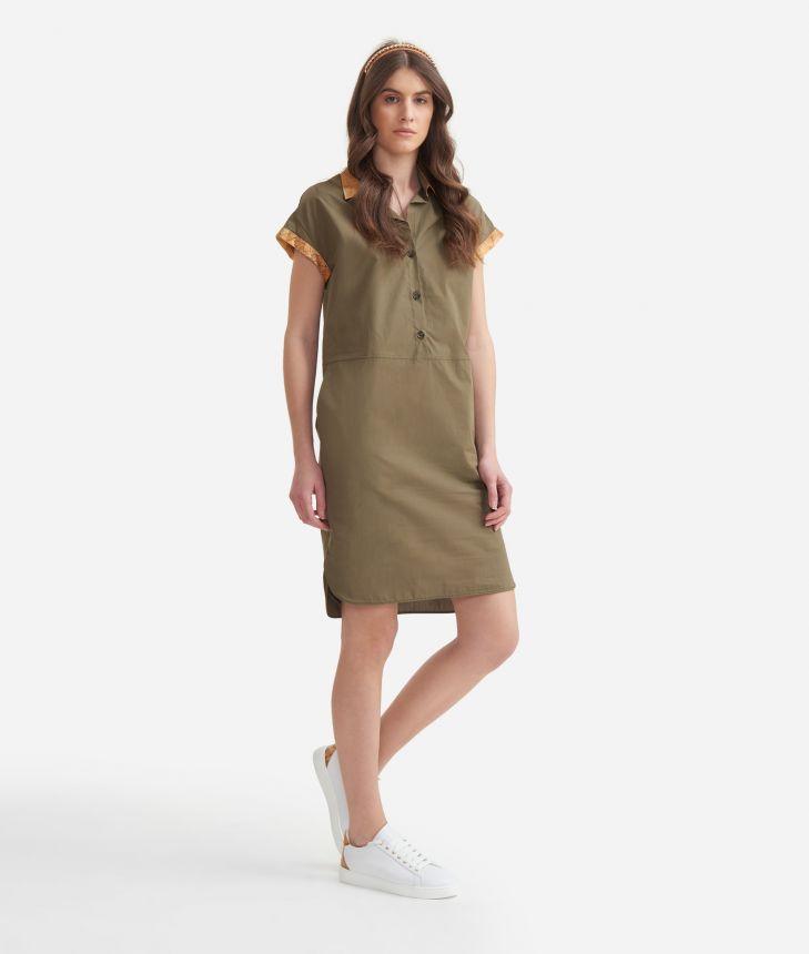Chemisier Dress in cotton poplin Green,front