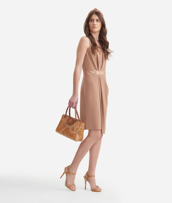Dress with belt in fluid fabric Beige,front